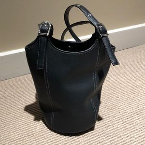 Small black vinyl shoulder bag